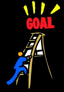 man climbing ladder to reach the goal